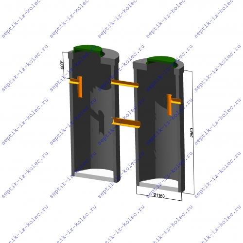 Септик из бетонных колец Ладомир 1-2.8 размеры